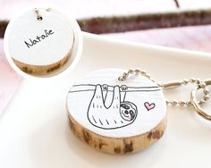 PERSONALIZED Keychain Sloth Birthday Gift Name Initials Monogram Cute Animal Drawing Custom Handmade Reclaimed Wood ECO FRIENDLY Keyring via Etsy