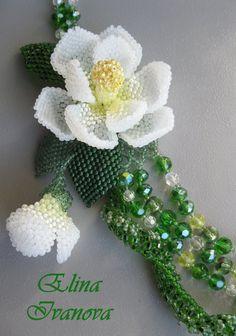 necklace magnolia Beaded flower handmade by Elinawonderland