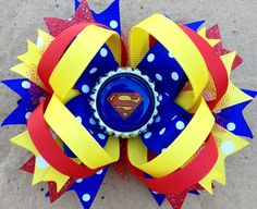 SUPERMAN HAIR BOW Boutique Style Superman Logo Bottle Cap Hair Bow with Blue Yelow and Glitter Red Ribbon and Tulle