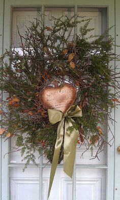 Rustic Christmas...wreath with copper heart & pine.