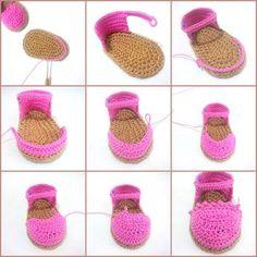Crochet Baby Shoe Pattern Free. Baby Espadrilles Free Pattern Bebek Espadril Yapımı