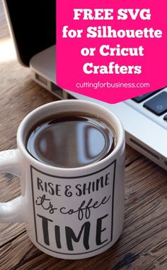 Free Commercial Use Coffee Time SVG for Silhouette or Cricut Crafters by cuttingforbusiness.com