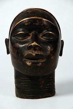 African Benin Bronze Head  Bronze altar portrait, ancestor with realistic portrayal, Benin culture, Nigeria. High copper content…