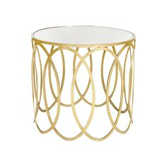 GOLD LEAFED OVALS SIDE TABLE W. MIRROR TOP