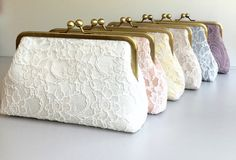 Macaron Clutch Lace Bridesmaid Clutches Set by SheetaDesign