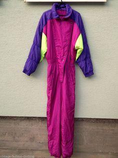 Vintage SKI SUIT Neon Onesie Snowsuit Mens Unisex Medium Germany M - L 40