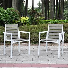 Babylon Patio Polywood Dining Chair With Arms (Set of Taupe