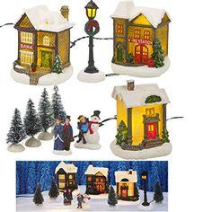 Village de Noël Lumineux LED 10 pièces miniature – Maison, sapin de Noël, Bonhomme de neige…: Magnifique décoration de Noel Village de Noël…