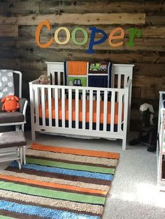 Love the accent wall with baby's name.