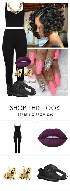 """""""✨"""" by melaninmonroee ❤ liked on Polyvore featuring Lime Crime, Han Cholo and adidas"""