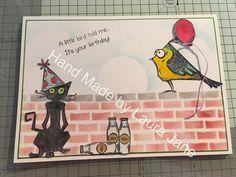 Tim Holtz Bird Crazy, Crazy Cats, Crazy thing, Creative Expressions Mini Brick stencil, Distress inks