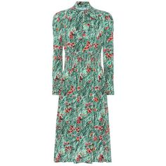 Prada Printed Silk Dress (13.915 DKK) ❤ liked on Polyvore featuring dresses, green, prada dresses, silk dress, green silk dress, prada and green color dress