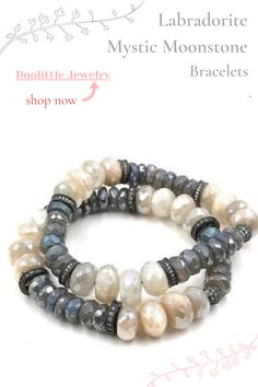 Mystic coated gems of labradorite and moonstone combine to create this glamorous stretch stacking bracelet by Doolittle Jewelry.  #stretchbracelet #beadedbracelets #moonstonebracelet #labradoritebracelet  Visit us to learn more.  We now have layaway Labradorite Jewelry, Gemstone Jewelry, Jewelry Bracelets, June Birth Stone, Stretch Bracelets, Custom Jewelry, Earrings Handmade, Special Occasion, Vip Group
