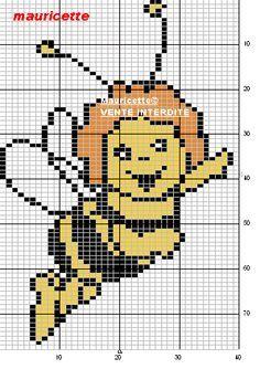 Biene Maja hama perler beads pattern by Mauricette Beaded Cross Stitch, Cross Stitch Baby, Modern Cross Stitch Patterns, Cross Stitch Designs, Knitting Charts, Baby Knitting, Beading Patterns, Embroidery Patterns, Pixel Drawing