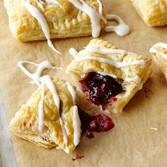 Cherry Pomegranate Danish: Tart filling bakes inside flaky puff pastry. For pink icing, use pomegranate juice instead of milk and butter.