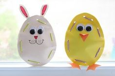 A fun preschool craft for Easter. Lace up bunny and Spring chick. Cute!