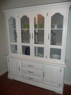 Large white china cabinet- striped back