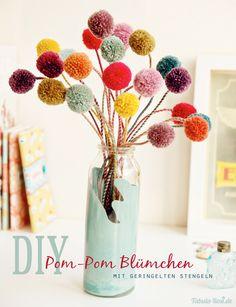 Pom Pom Flowers with two-coloured stems