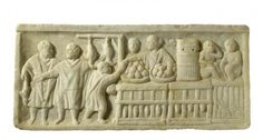 Marble bas-relief with poultry-seller, first half of the 3rd cent. AD Antiquarium Ostiense - Bassorilievo in marmo con pollivendola - prima metà III sec. d.C. (antiquarium ostiense, inv. 134)