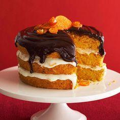 Orange-Carrot Cake with Chocolate Ganache? Yes, please! More fall desserts: http://www.bhg.com/recipes/desserts/other-desserts/fall-spiced-desserts/?socsrc=bhgpin102812orangecarrotcake