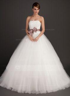 Balklänning Axelbandslös Sweep släp Tyll Bröllopsklänning med Skärpband Applikationer Spetsar Rosett/-er (002015495) - JJsHouse