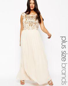 Lovedrobe Mesh Insert Embellished Maxi Dress