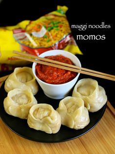 noodle momos recipe, veg noodles momos , veg momos recipe with step by step photo/video. fusion of street food momos with maggi noodles & its taste maker Milk Recipes, Veg Recipes, Indian Food Recipes, Vegetarian Recipes, Cooking Recipes, Healthy Recipes, Recipies, Indian Snacks, Snack Recipes