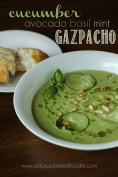 Cucumber Avocado Basil Mint Gazpacho is the perfect summer time soup and is so refreshing because its served cold and made with fresh summer vegetables.