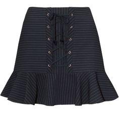Mayla Navy Striped Corset Mini Skirt (360 BRL) ❤ liked on Polyvore featuring skirts, mini skirts, bottoms, striped short skirt, navy blue mini skirt, stripe skirt, navy mini skirt and navy skirt