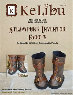 "STEAMPUNK INVENTOR BOOTS 18"" DOLL SHOES"