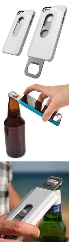 Beer bottle opener phone case! Soft touch with built-in slide-out opener... now your iPhone can really do everything! #product_design