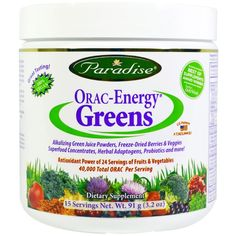 Best of Supplements Award Winner - Better Nutrition! ORAC-Energy Greens: Antioxidant Power of 24 Servings of Fruits & Vegetables. Energy Greens is the perfect supplement to provide the antioxidant protection we all need. Our patented formula is the next generation in greens containing over 42 certified organic and pesticide free ingredients. These ingredients include highly bioavailable juice powders, aqua superfoods, freeze-dried berries and veggies, etc.