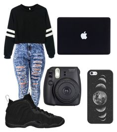 """""""Black and Random ⚫️"""" by alexaurie23 on Polyvore featuring NIKE, Fuji and Casetify"""