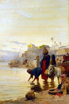 Egypt , Old Cairo Paintings: Charles (Carl) Wilda (Austrian 1854-1907 ) - Washerwomen on the Nile