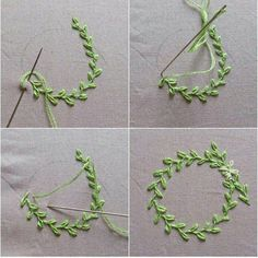 Easy embroidery project: delicate leaf wreath