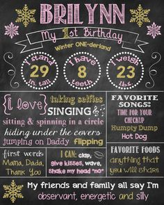 Pink and Gold Winter Birthday Chalkboard by ChalkingItUpBoards