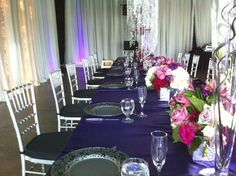 Gorgeous pink and purple winery pavilion wedding reception decor at Chateau Elan Winery & Resort. Learn more about North Georgia's premier wedding and event venue at www.chateauelan.com