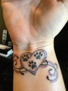 Paws in Heart Tattoo