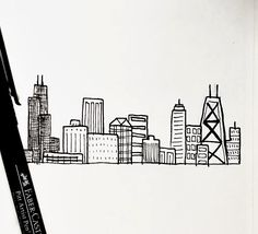 Pen Sketch, Sketch Drawing, Sketches Tutorial, Chicago Skyline, Drawing Challenge, Drawing Techniques, Acrylic Paintings, Disney Art, Manga Art