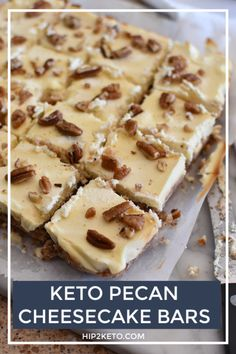 Satisfy your sweet tooth on occasion with these delectable keto pecan cheesecake bars! They're a yum low-carb keto dessert you're gonna love! Pecan Cheesecake, Cheesecake Recipes, Dessert Recipes, Dinner Recipes, Cheesecake Cookies, Party Recipes, Lunch Recipes, Healthy Cheesecake, Keto Cookies