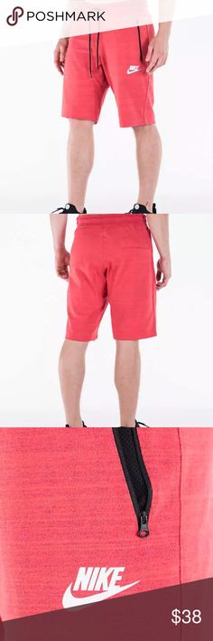 Nike Sportswear AV15 Knit Shorts, Red, XL, NWT!! Embrace the warm weather with the Men's Nike Sportswear AV15 Knit Shorts. Beautiful soft jersey fabric has a technical knit effect. Nike branding on the left thigh lets everyone know what brand you're repping. Zippered side pockets and a back snap pocket offer secure storage and convenient storage for your daily essentials. The slim fit and waistband with drawcord offer a modern look and comfort.  •Features: ◦ •FABRIC: 58% cotton, 42%…