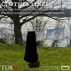 """""""TURN - Washington's Spies"""" on AMC. Anna Strong sent secret messages to the spies by hanging certain items on the clothesline."""