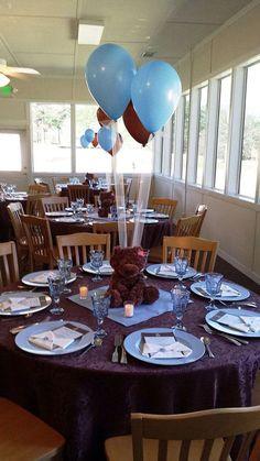Centros de mesa con globos de peluche para Baby Showers. #DecoracionBabyShower