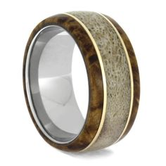 Cherish every moment with your hunting gal and partner with this deer antler wedding band. This wood ring is inlaid with naturally shed antler