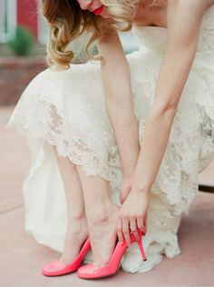 rustic lace wedding dress with pink heels #tulleandchantilly