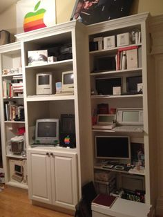 my built-in shelves are chocked full of items from my Apple / Mac collection