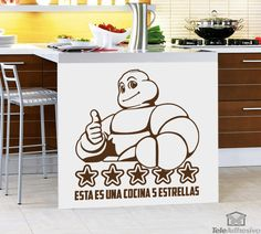 Kitchen Wall Sticker this is a 5 Stars Kitchen. If you're a true master in Fireworks, if you feel a Michelin star chef, we have vinyl for your kitchen. Kitchen Wall Stickers, Kitchen Collection, Chef, Aprons, Fireworks, Stars, Design, Home Decor, Michelin Star