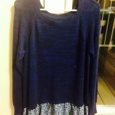 American eagle sweater top Very adorable sweater top with frills in front on the bottom edge ! :) American Eagle Outfitters Tops Tees - Long Sleeve