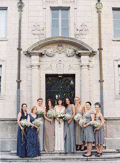 Love the bridesmaids dress colors!