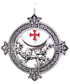 The Templar cross surmounts the mother goddess crescent moon, the stars and the noble lion as image of Knight Templar's fierce determination and courage. Based on the seal of an English Master Templar, the wearer may be brought Power and Success.
